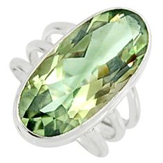 13.04cts natural green amethyst 925 sterling silver solitaire ring size 7 r9245