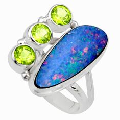 925 silver 7.24cts natural doublet opal australian ring jewelry size 6.5 r9259