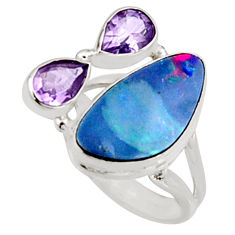 925 silver 7.63cts natural blue doublet opal australian ring size 6.5 r9260