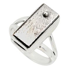 925 silver 9.32cts natural grey meteorite gibeon solitaire ring size 6 r9508