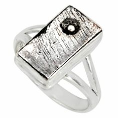 9.32cts natural grey meteorite gibeon 925 silver solitaire ring size 8.5 r9512