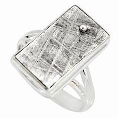 10.85cts natural grey meteorite gibeon 925 silver solitaire ring size 9 r9514