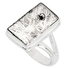 10.25cts natural grey meteorite gibeon 925 silver solitaire ring size 8 r9518