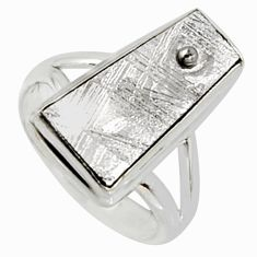 9.67cts natural grey meteorite gibeon 925 silver solitaire ring size 6 r9527