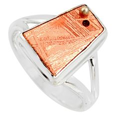925 silver 7.04cts natural copper meteorite gibeon solitaire ring size 7.5 r9535