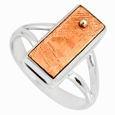 8.54cts natural copper meteorite gibeon 925 silver solitaire ring size 9 r9537