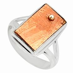 925 silver 7.88cts natural copper meteorite gibeon solitaire ring size 6 r9539