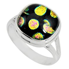 7.88cts multi color dichroic glass 925 silver solitaire ring size 8.5 r9542
