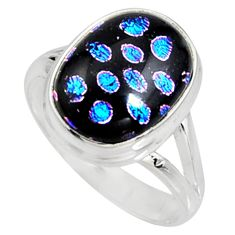 6.83cts multi color dichroic glass 925 silver solitaire ring size 9 r9551