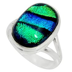 925 silver 9.63cts multi color dichroic glass solitaire ring size 8 r9552