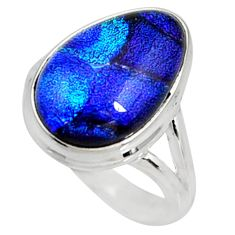 9.42cts multi color dichroic glass 925 silver solitaire ring size 8 r9554