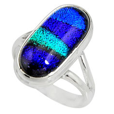 925 silver 8.14cts multi color dichroic glass solitaire ring size 8 r9556