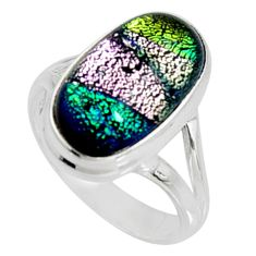 7.35cts multi color dichroic glass 925 silver solitaire ring size 7.5 r9562