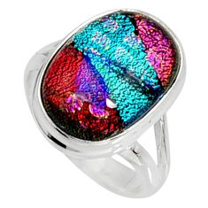 7.63cts multi color dichroic glass 925 silver solitaire ring size 7 r9567