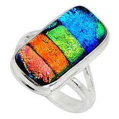 10.33cts multi color dichroic glass 925 silver solitaire ring size 8 r9568