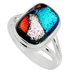 7.07cts multi color dichroic glass 925 silver solitaire ring size 9 r9570