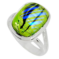 925 silver 9.03cts multi color dichroic glass solitaire ring size 8 r9574