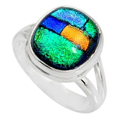 5.52cts multi color dichroic glass 925 silver solitaire ring size 7 r9579