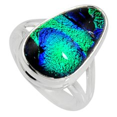 925 silver 8.54cts multi color dichroic glass solitaire ring size 6.5 r9580