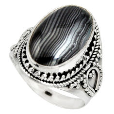 10.43cts natural black psilomelane 925 silver solitaire ring size 9 r9749