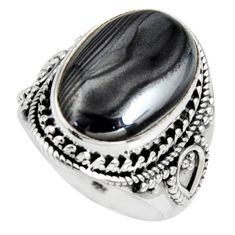 11.54cts natural black psilomelane 925 silver solitaire ring size 7.5 r9750