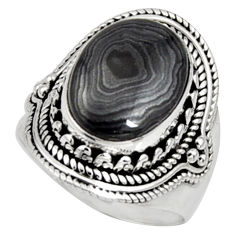 7.33cts natural black psilomelane 925 silver solitaire ring size 7.5 r9758