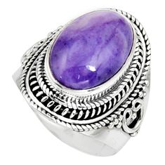 925 silver 8.71cts natural purple tiffany stone solitaire ring size 8.5 r9764