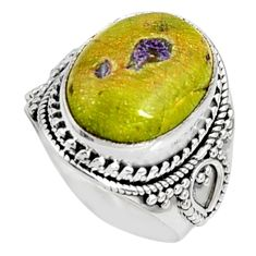 10.53cts natural atlantisite stichtite-serpentine 925 silver ring size 8 r9770