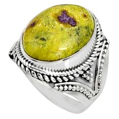 11.22cts natural atlantisite stichtite-serpentine 925 silver ring size 8 r9773