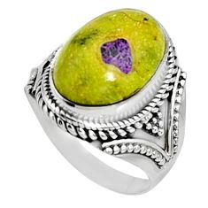 10.53cts natural atlantisite stichtite-serpentine 925 silver ring size 9 r9775