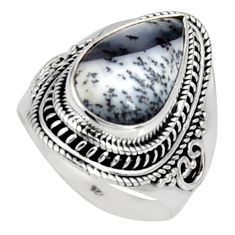 9.44cts natural white dendrite opal 925 silver solitaire ring size 9 r9785