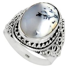 10.89cts natural white dendrite opal 925 silver solitaire ring size 8 r9786