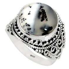 9.62cts natural white dendrite opal 925 silver solitaire ring size 9.5 r9790
