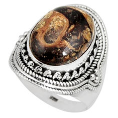 9.64cts natural turritella fossil snail agate silver solitaire ring size 8 r9792