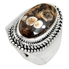 925 silver natural turritella fossil snail agate solitaire ring size 7 r9793