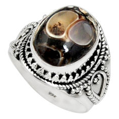 6.96cts natural turritella fossil snail agate silver solitaire ring size 8 r9794