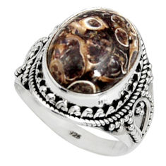 925 silver natural turritella fossil snail agate solitaire ring size 8 r9796