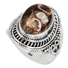 Natural turritella fossil snail agate 925 silver solitaire ring size 8 r9798