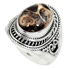 925 silver natural turritella fossil snail agate solitaire ring size 9.5 r9799