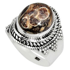 Natural turritella fossil snail agate 925 silver solitaire ring size 7 r9800