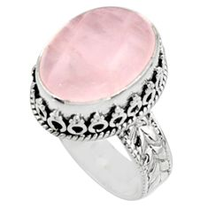 9.64cts natural pink morganite 925 silver solitaire ring jewelry size 8.5 r9801
