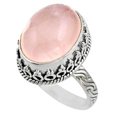 925 silver 11.21cts natural pink morganite solitaire ring jewelry size 8 r9807