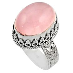 11.83cts natural pink morganite 925 silver solitaire ring jewelry size 8.5 r9810