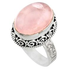 11.22cts natural pink morganite 925 silver solitaire ring jewelry size 8.5 r9814