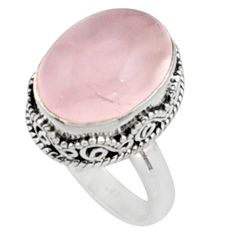 925 silver 11.54cts natural pink morganite solitaire ring jewelry size 8.5 r9816
