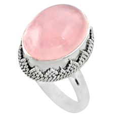 11.21cts natural pink morganite 925 silver solitaire ring jewelry size 8.5 r9817