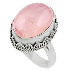 10.89cts natural pink morganite 925 silver solitaire ring jewelry size 7.5 r9818