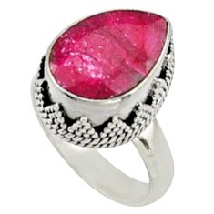 6.76cts natural red ruby 925 sterling silver solitaire ring size 7.5 r9821