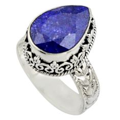 6.53cts natural blue sapphire 925 sterling silver solitaire ring size 9 r9822
