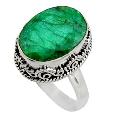925 sterling silver 11.21cts natural green emerald solitaire ring size 8 r9824